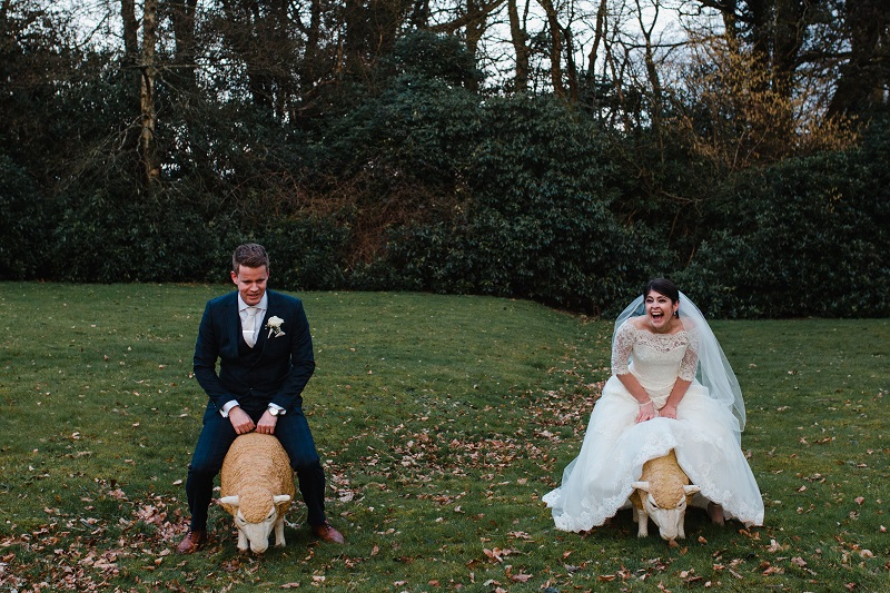 An image of a bride and groom sitting on plastic sheep in the middle of a lawn