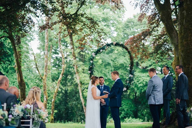 Outdoor wedding ceremony at Fairyhill