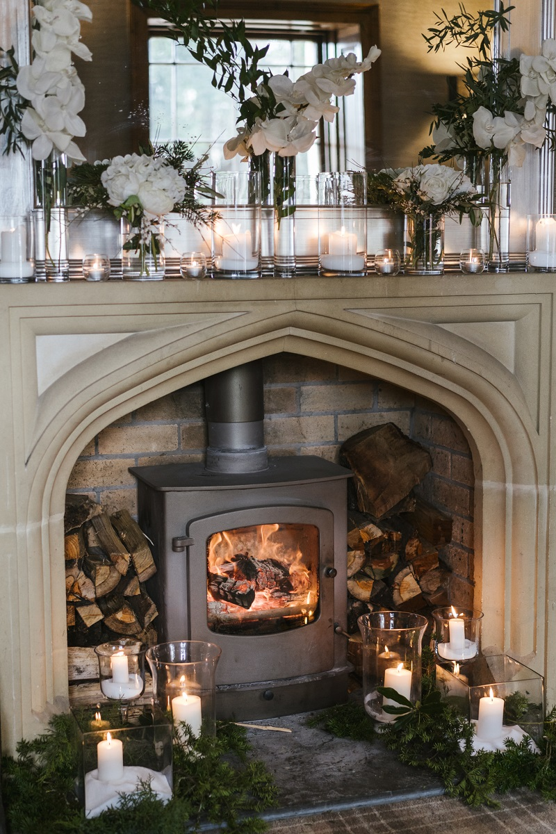 An image of a fireplace in the newly renovated grade-2-listed Georgian house.